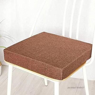 KingMSPG Coussin de chaise 40 x 40 cm épaisseur 5 8 cm coussin lavable pour chaise de salle à manger intérieur ou extérieur 35 x 35 x 5 cm marron