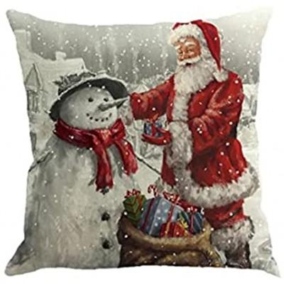 Runfon Santa Claus Coussin de taie d'oreiller Flax Coussin carré Coussin de Noël Coussin d'oreiller Coussin Coussin pour canapé-lit Décor à la Maison