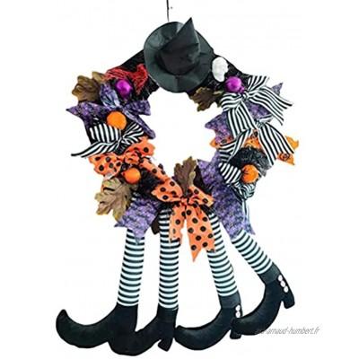 Brteyes Couronne d'Halloween de 61 cm Couronne de jambe de sorcière à suspendre Décoration de maison hantée Couronne de sorcière pour Halloween