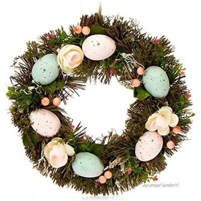com-four® Guirlande de pâques avec Fleurs et Oeufs Couronne de Table décorative Guirlande de Porte avec Crochet
