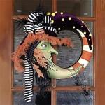 Couronne De Lune De SorcièRe Couronne ExtéRieure D'Halloween Couronne D'Halloween De SorcièRe DéCor De Lune DéCor à La Maison 34*32cm