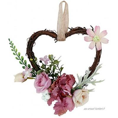 Ototon Guirlande de Fleurs Artificielles Forme de Coeur Mini Couronne de Porte de Printemps Décoration pour Porte d'Entrée Mariage Maison Voiture